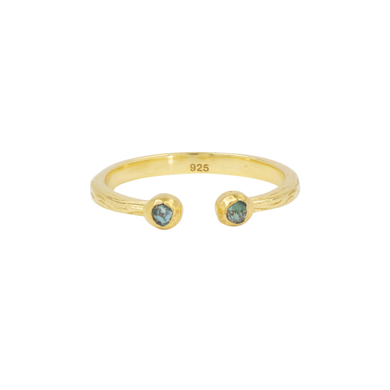 Soufflé Stone Stacker Ring in Chrysocolla and Gold