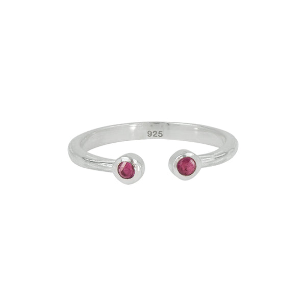 Soufflé Stone Stacker Ring in Ruby and Silver