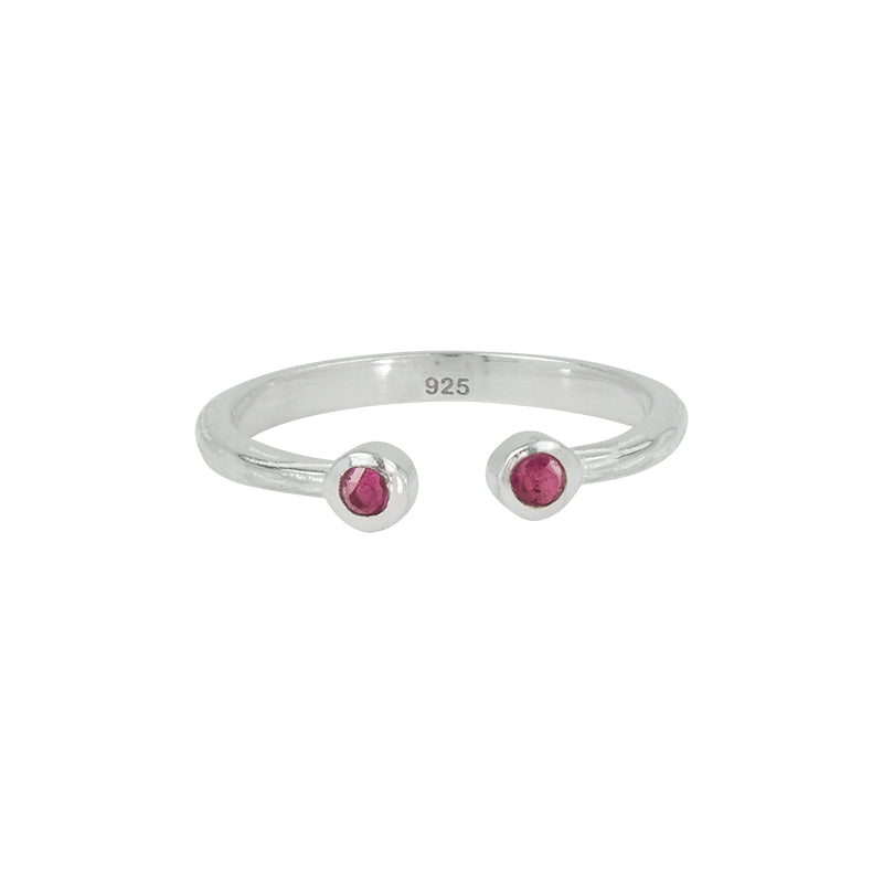 Souffle Stone Stacker Ring in Ruby and Silver | Will ship December 16th