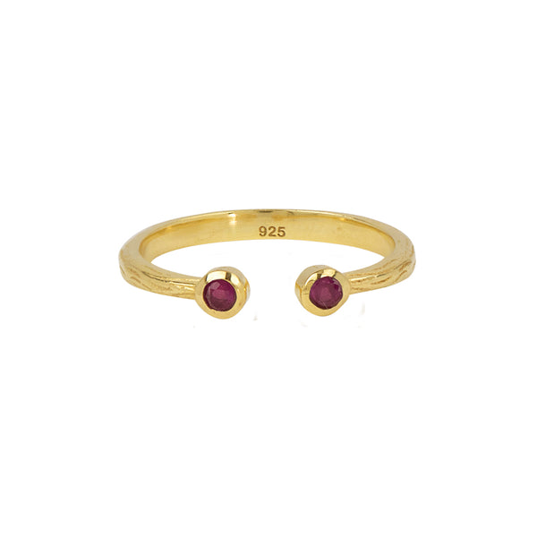 Soufflé Stone Stacker Ring in Ruby and Gold