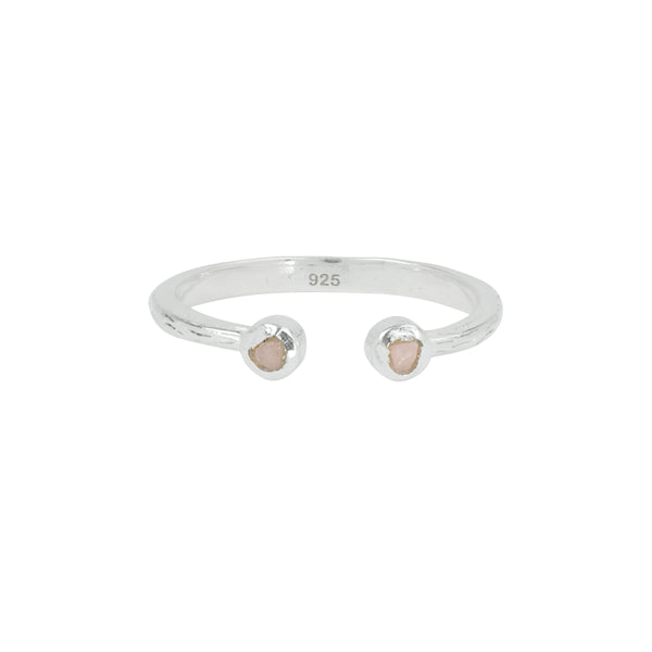 Soufflé Stone Stacker Ring in Pink Opal and Silver