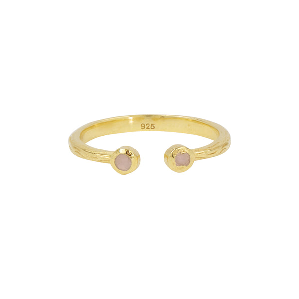 Soufflé Stone Stacker Ring in Pink Opal and Gold