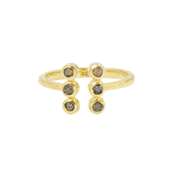 Souffle Stone Totem Ring in Raw Diamond and Gold