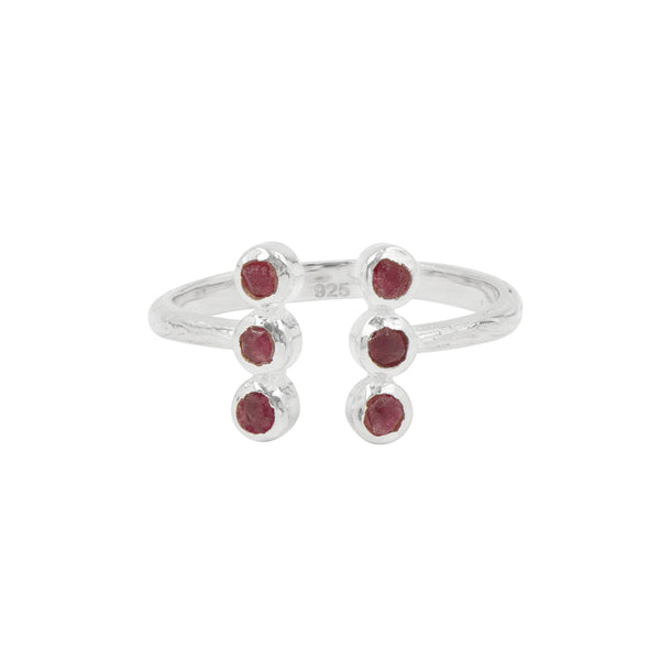 Souffle Stone Totem Ring in Ruby and Silver