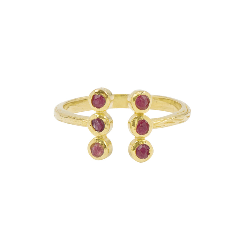 Souffle Stone Totem Ring in Ruby and Gold
