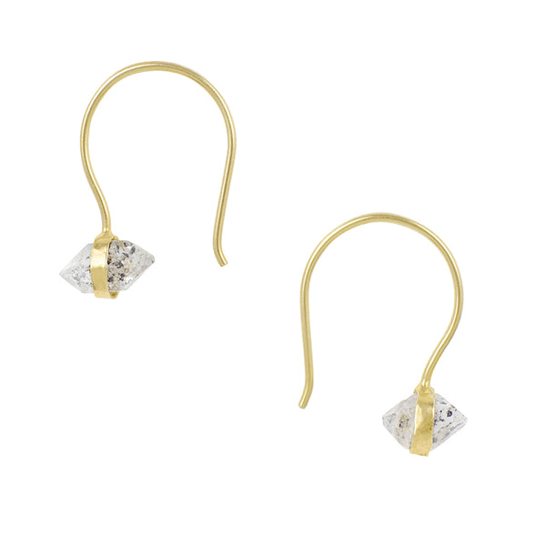 Herkimer Diamond Hooks in Gold