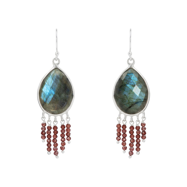 Cut Stone Earrings with Labradorite and Garnet