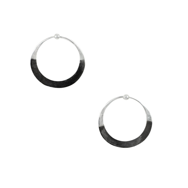 Rhodium Dipped Hammered Hoops - Small in Silver