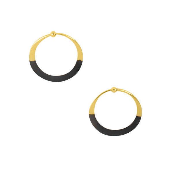 Rhodium Dipped Hammered Hoops in Gold - 1"