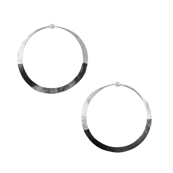 Rhodium Dipped Hammered Hoops in Silver - 1 1/2""