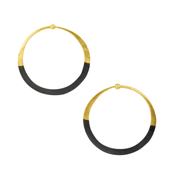Rhodium Dipped Hammered Hoops in Gold - 1 1/2"