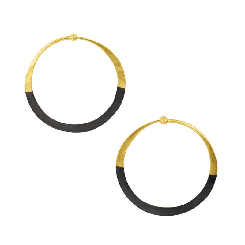 Rhodium Dipped Hammered Hoops in Gold - 1 1/2""