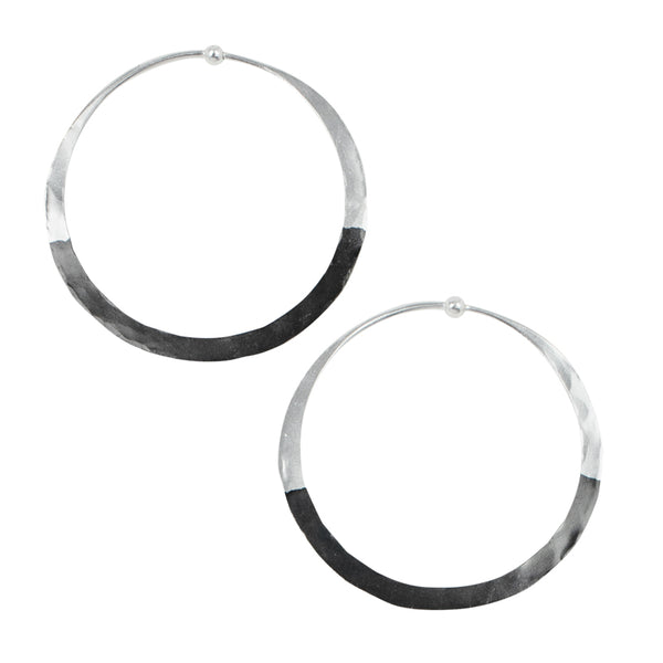 Rhodium Dipped Hammered Hoops in Silver - 2"