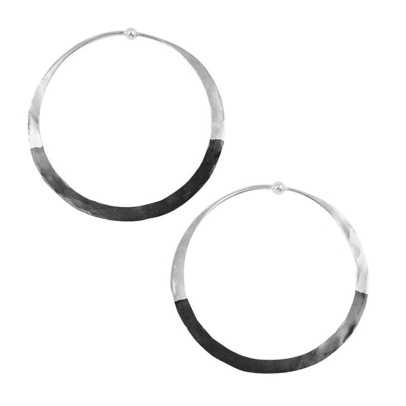 Rhodium Dipped Hammered Hoops in Silver - 2""