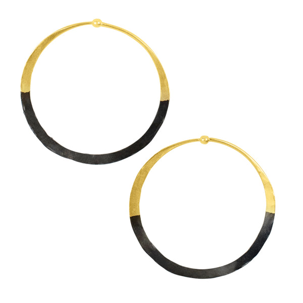 Rhodium Dipped Hammered Hoops in Gold - 2"