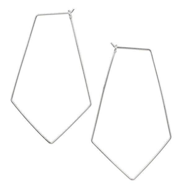 Large Rhombus Hoops in Silver