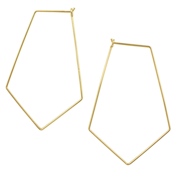 Large Rhombus Hoop in Gold