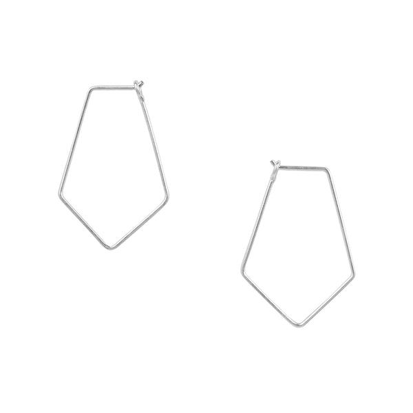 Small Rhombus Hoops in Silver