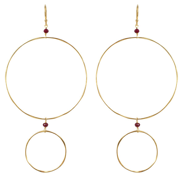 The Sun and Moon Hoops in Ruby & Gold