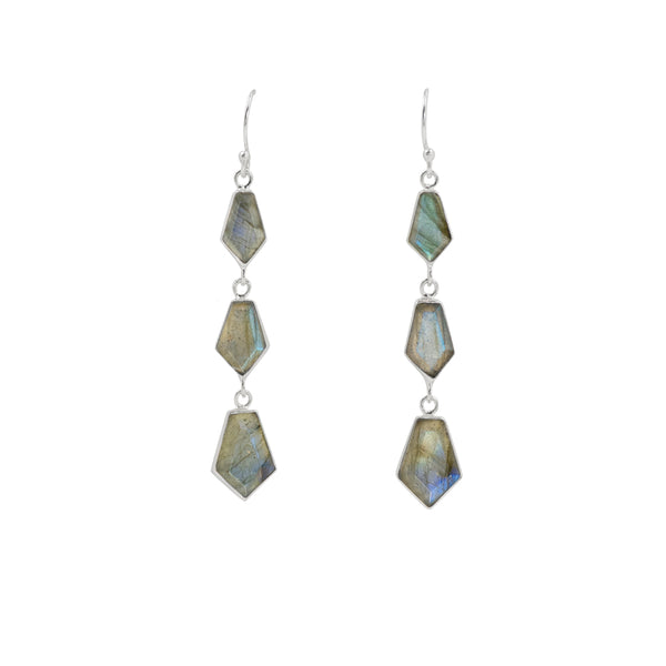 En Pointe Duster Earrings in Labradorite and Silver