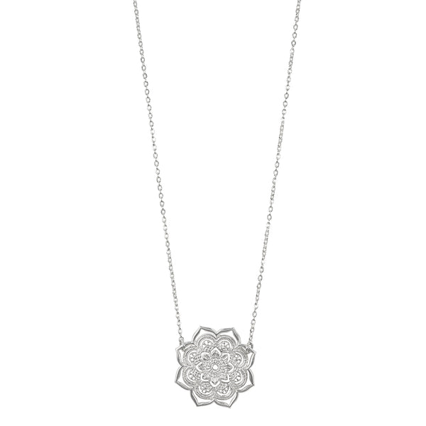 Open Heart Mandala Necklace in Silver
