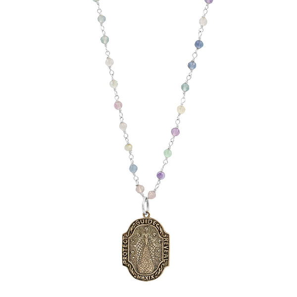 "Nature Saint Necklace- Peacock, 20-22"" on Fluorite chain"