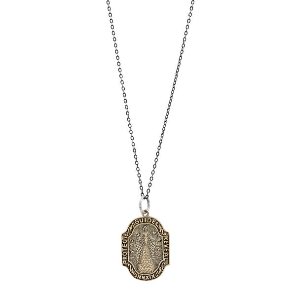 Nature Saint Necklace - Peacock on Antiqued Sterling Chain