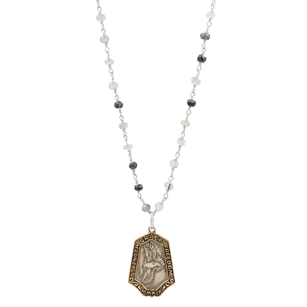 "Nature Saint Necklace- Hawk, 16-18"" Black Rutilated Quartz Chain"