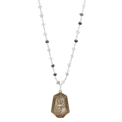 "Nature Saint Necklace- Hawk 20-22"" Black Rutilated Quartz Chain"