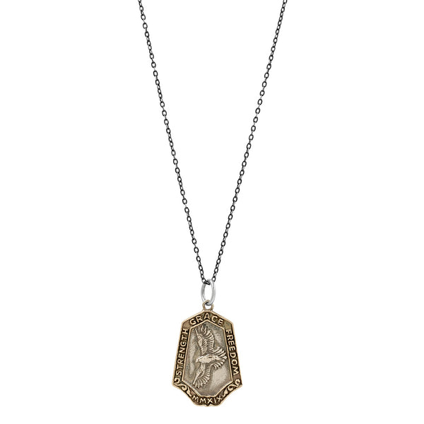 Nature Saint Necklace -  Hawk: Strength | Grace | Freedom (oxidized chain)