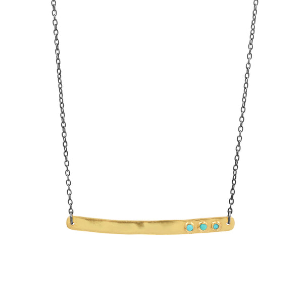 Reversible Bar Necklace in Turquoise & Raw Diamond