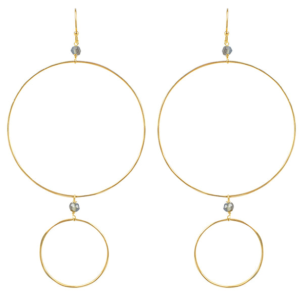 The Sun and Moon Hoops in Labradorite & Gold