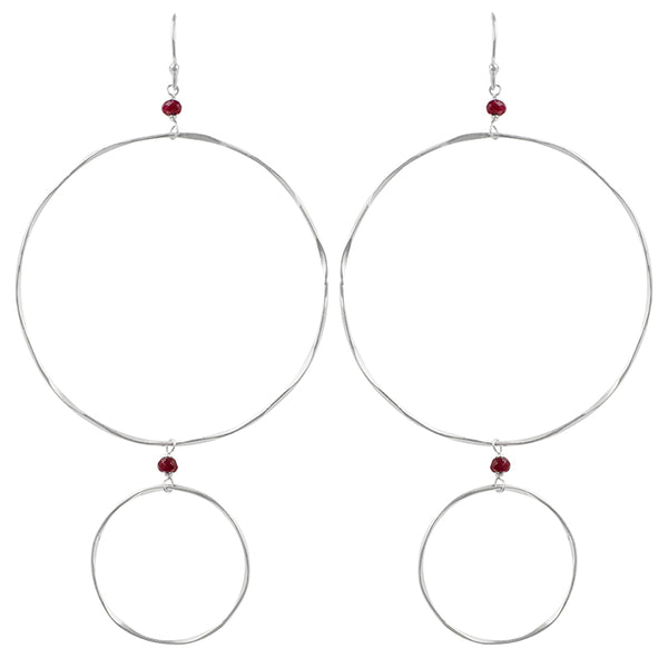 The Sun and Moon Hoops in Ruby & Silver