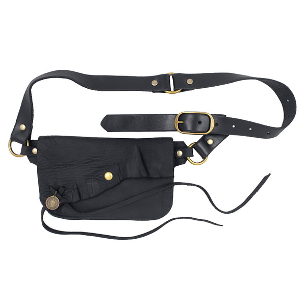 Saintly Convertible Belt Bag with Vintage Saint Charm- Black