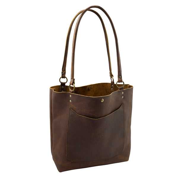 Handmade Leather Tote Bag in Brown
