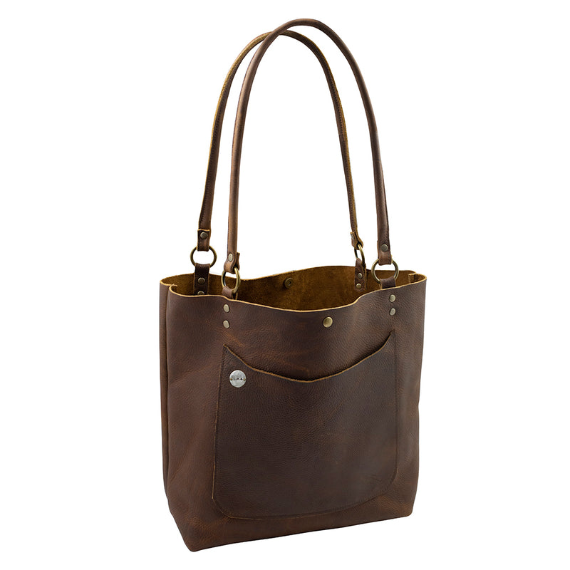 Handmade Monogrammed Leather Tote in Brown