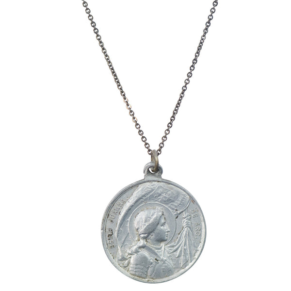 Vintage Aluminum Joan of Arc Saint Necklace #37