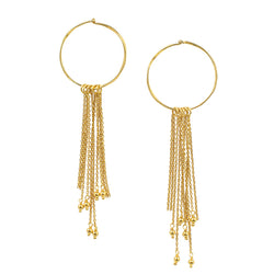 Fluidity Fringe Hoops in Gold
