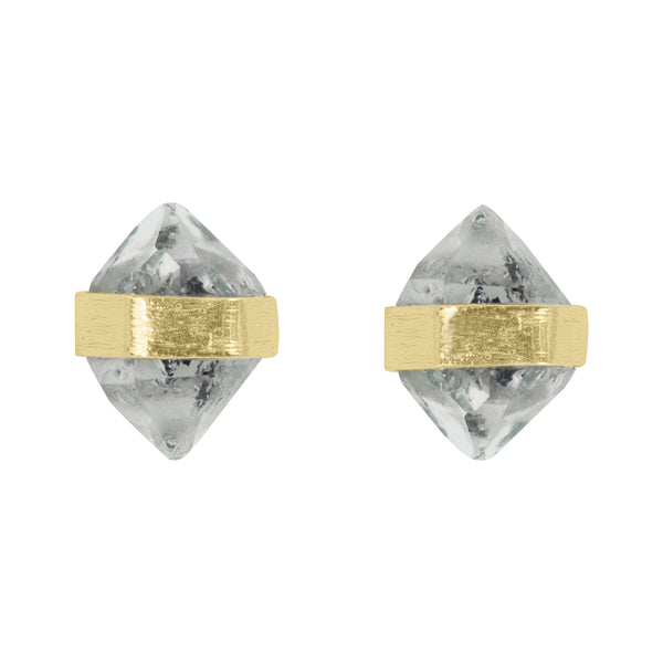 Herkimer Diamond Post Earrings in Gold