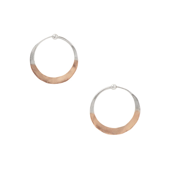 Two-Tone Hammered Hoops in Silver & Rose Gold - 1""