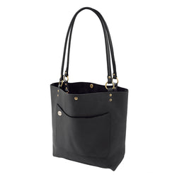 Handmade Monogrammed Leather Tote in Black