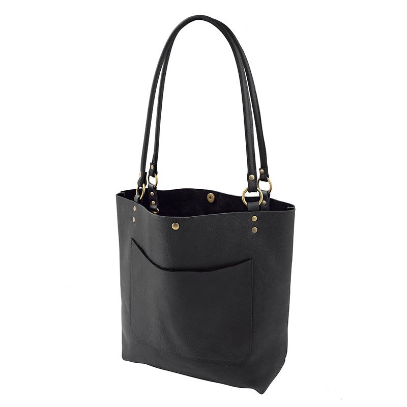 Handmade Leather Tote in Black