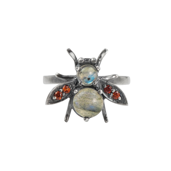 Jeweled Cornu Ring in Labradorite and Garnet