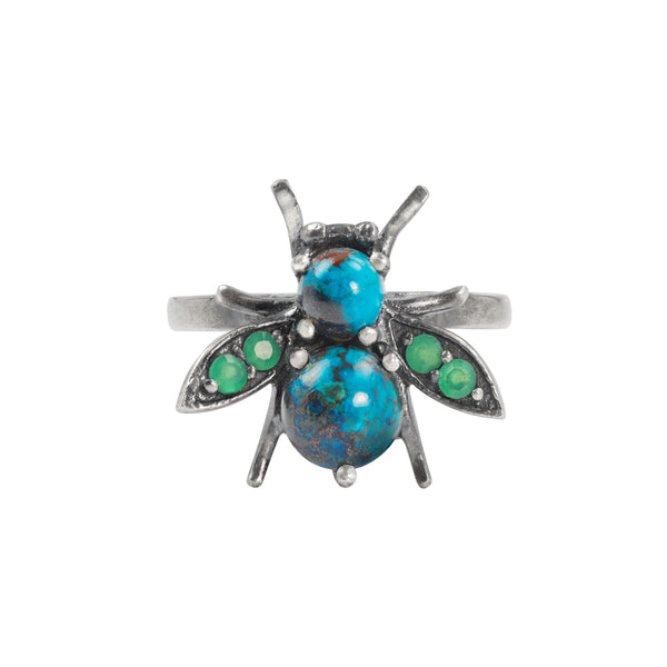 Jeweled Cornu Ring in Chrysocolla and Chrysoprase