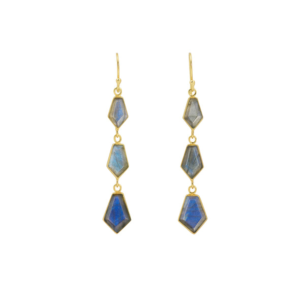 En Pointe Duster Earrings in Labradorite and Gold