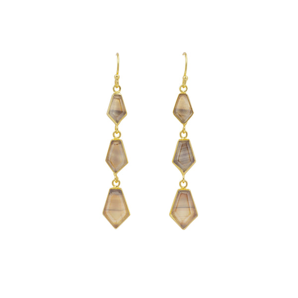 En Pointe Duster Earrings in Fluorite and Gold