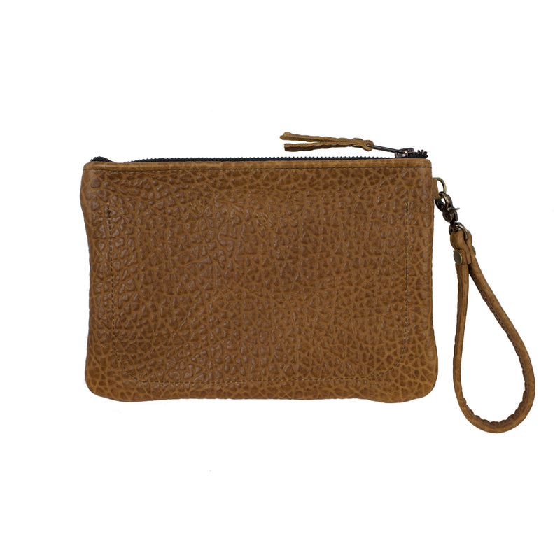 Mini Poppins Leather Wrist Bag in Brown