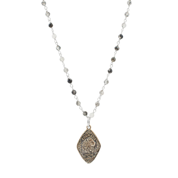 "Nature Saint Necklace - Lion, 16-18"" Rutilated Quartz Chain"