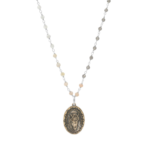 "Nature Saint Necklace - Horse, 16-18"" Shaded Moonstone Chain 