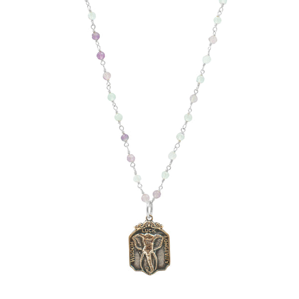 "Nature Saint Necklace - Elephant, 20-22"" Fluorite Chain"